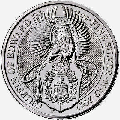 2017 2 oz British Silver Queen's Beast Griffin Coin - Brilliant Uncirculated