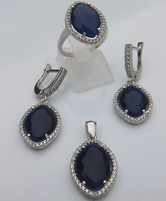 925 Silver Set With Created Blue Sapphire And White Cz, Ring Size M,and P.