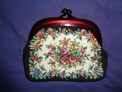 Handmade Sewn Flower Womans Clasp Coin Purse Vintage Excellent Condition