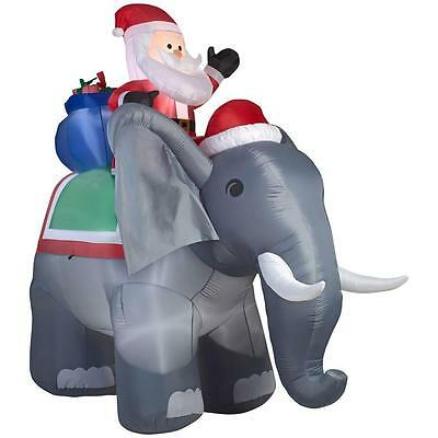 10.5 FT COLOSSAL SANTA RIDING ELEPHANT Airblown Lighted Yard Inflatable