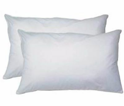 SALE Twin Pack Luxury White Virgin Hollowfibre Bed Bedding Pillows Extra Filled