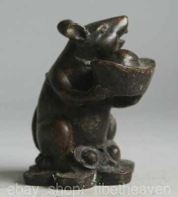 """3"""" Old China Bronze Zodiac Year Mouse Mice YuanBao Coin Wealth Statue Sculpture"""