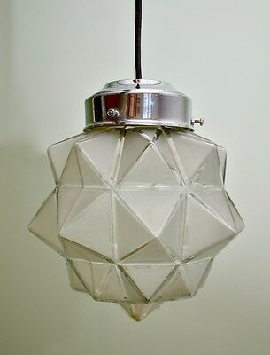 Vintage Art Deco Star-Shaped Frosted Glass Lamp Shade Pendant Light 1930s