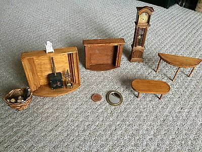 Dolls House Fireplaces, Grandfather Clock And Tables