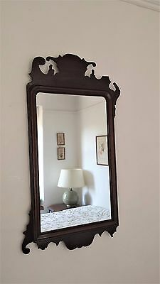 Antique Chippendale Style Mahogany Wall Hall Mirror 19thC Vintage Needs Repair
