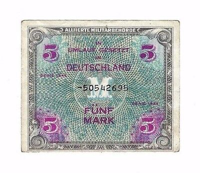 Allied Military German Currency Note 1944 1 x 5 Mark [#002]