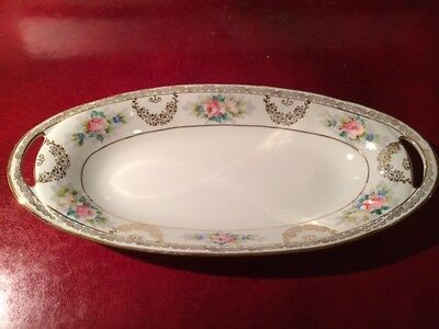 Vintage Nippon Fine China Serving Dish - Hand Painted Gold Gilt Pink Roses