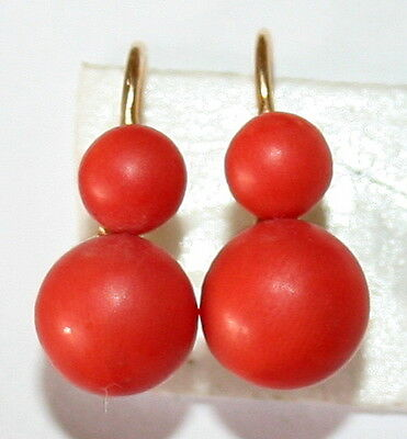 ANTIQUE VICTORIAN 18K GOLD 6mm and 9mm SALMON CORAL 2 CORALS FINE EARRINGS c1880