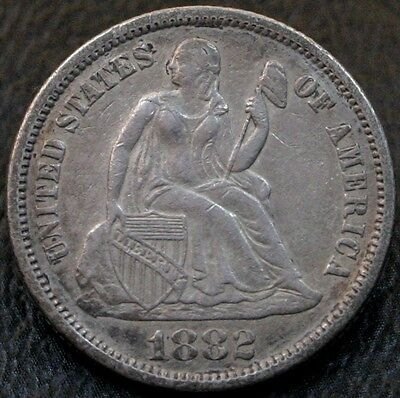 1882 Seated Liberty Dime XF/AU 10C Silver Coin