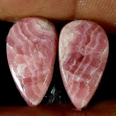11.750Cts. 100% NATURAL RHODOCHROSITE PEAR CABOCHON MATCHED PAIR LOOSE GEMSTONE