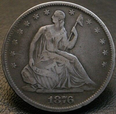 1876-S Seated Liberty Half Dollar Rare (Micro S) Type 1 Reverse WB 101 50C Coin