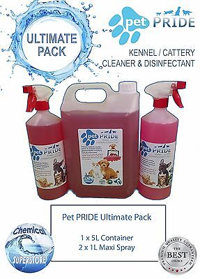 Pet Pride Ultimate Pack - Kennel, Cattery Disinfectant 1 X 5L and 2 X 1L Sprays