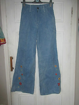 Vintage 70's flared jeans embroidered flower power hippy high waist long leg