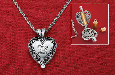 NEW BRASS URN INSIDE A HEART SHAPED LOCKET NECKLACE PENDANT for MEMORIAL ASHES