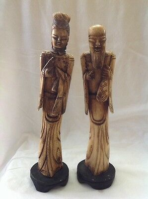 Antique Pair Chinese Cattle Bone Handmade Carved Man & Woman Statue Figures