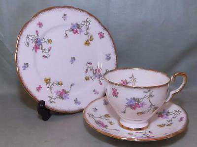 Royal Stafford Violets Pompadour Bone China Trio Tea Cup Saucer & Side Plate #2