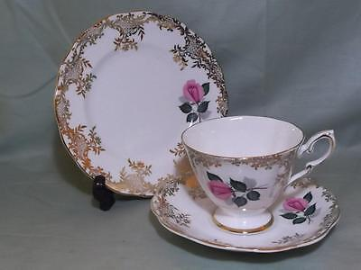 Royal Standard Pink Rose Bone China Trio Tea Cup Saucer & Side Plate Patt. 2190