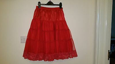 Red Vintage Petticoat with Lace Trim size 12-16