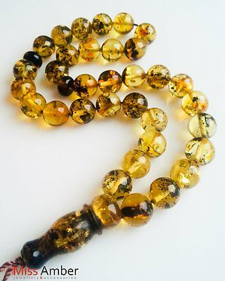 15g Islamic Prayer Baltic Amber Round Beads GREEN & Lemon Tasbih Tesbih Misbaha
