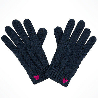 Disney Parks Blue Cable Knit Gloves Women's Mickey Icon