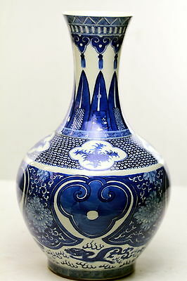 Antique Chinese Porcelain Kangxi vase Blue & White  6 character  reign mark