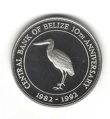 """1992 Ten Dollar """"10th Ann. of Central Bank"""" Sterling Sliver Proof Coin"""
