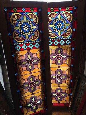 Sg 959 Collector Grade Antique Chunk Jeweled Pair Victorian Windows