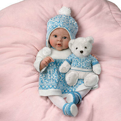 Ashton Drake - ESKIMO KISSES Baby Doll With Touch-Activated Bear by Sherry Rawn