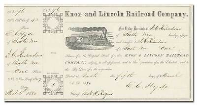 Knox and Lincoln Railroad Company Stock Certificate (Maine, 1877)