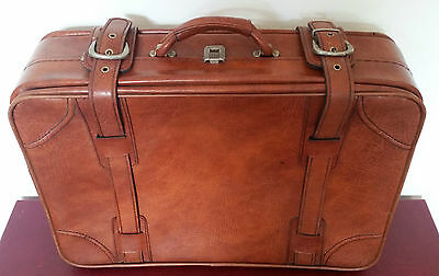 Vintage Leather Suitcase Luggage - MADE IN ITALY - Tan Brown - 1960's