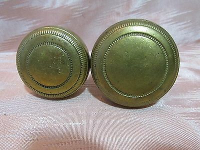 Pair of Decorated Brass Antique Door Knobs Architectural Salvage