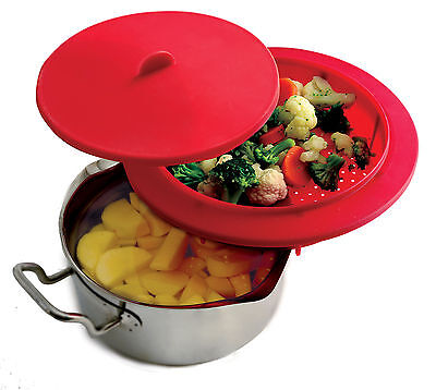 Norpro 206 Top Of The Pot Silicone Steamer With Lid, Cook Below And Steam Above