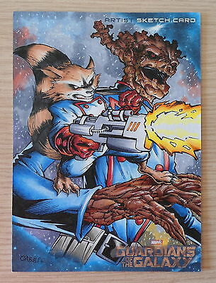 Oversized sketch card: Guardians Of The Galaxy - Rocket & Groot (Cabbie)