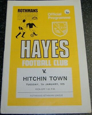 Hayes v Hitchin Town 1974/75