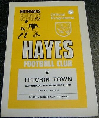 Hayes v Hitchin Town 1974/75 London Cup