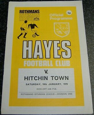 Hayes v Hitchin Town 1975/76