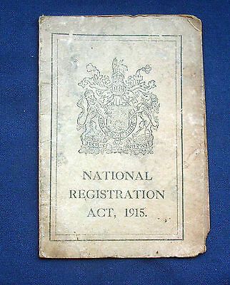 WWI National Registration Card 1915 - Cambridge Issue