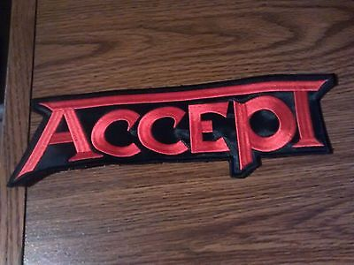 Accept,sew On Red Embroidered Large Back Patch