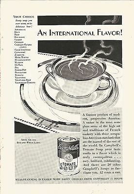 1929 Vintage Campbells Tomato Soup Ad International Flavor