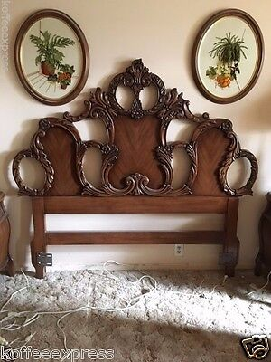 Queen Bedroom Set Hand Carved Wood Antique Country French Walnut