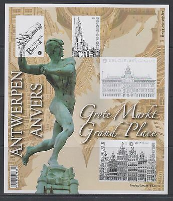 Belgique 2014 Reproduction couleurs Bloc de timbres Grand Place, neuve, TB