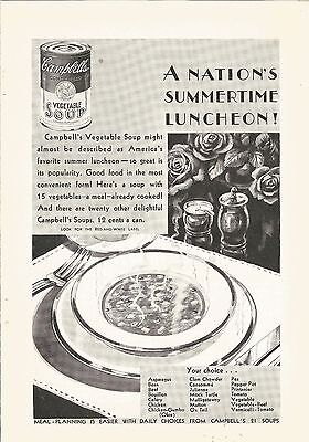 1929 Vintage Campbells Vegetable Soup Summertime Luncheon