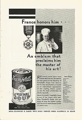 1929 Vintage Campbells Vegetable Soup France Honors Him