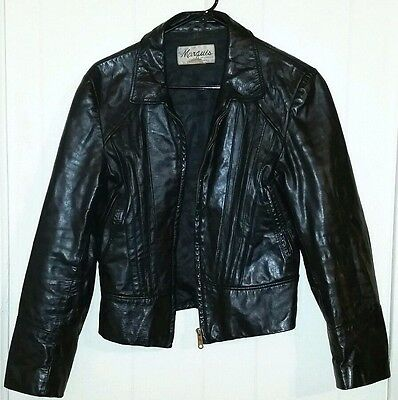 Vintage 80s Marquis Of London Men's Black Leather motorcycle Jacket 38 *RARE