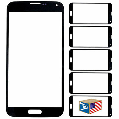 LOT of  5 BLACK  OUTER SCREEN GLASS DISPLAY FOR SAMSUNG GALAXY S5 SV i9600 NEW