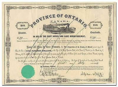 Port Dover and Lake Huron Railway Company Bond Certificate (1874)