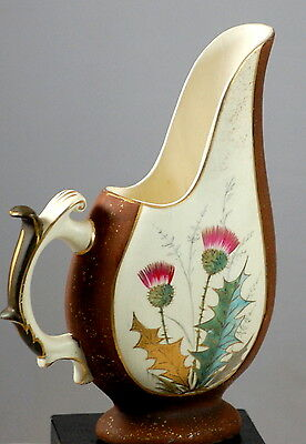 Vintage Brown And Cream Pitcher With Tall Spout And Hand Painted Thistle Design