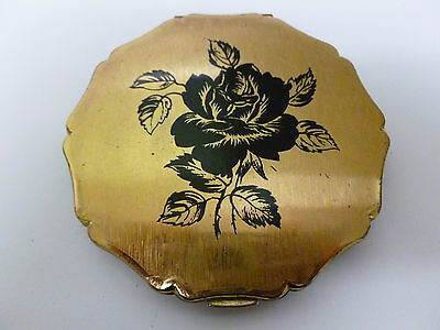 Vintage Stratton Powder Compact with Black Rose Design