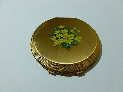 RARE Vintage Stratton Thinette Style Powder Compact with Primroses