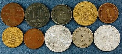 10 Old German Coins 1889-1936, Nice Selection and Quality